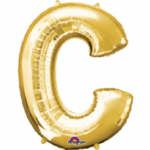 "Gold Letter C Balloon - Gold Letter Balloon (34"")"